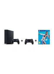 Sony PlayStation 4 Slim Console, 1TB, with 2 Controller and 1 Game(FIFA 19), Black