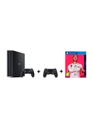 Sony PlayStation 4 Pro Console, 1TB, with 2 DualShock 4 Wireless Controller and 1 Game(FIFA 20), Black