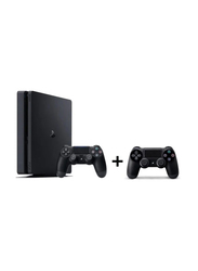 Sony PlayStation 4 Slim Console, 500GB, with 2 Dual Shock 4 Controller, Black