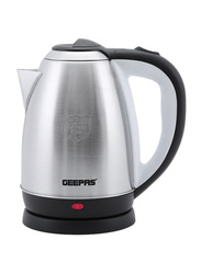 Geepas 1.8L Electric Stainless Steel Kettle, 1500W, GK5466, Silver/Black