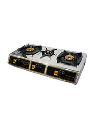 Hitachi 3 Burner Stainless Steel Gas Stove, MPH310, Silver