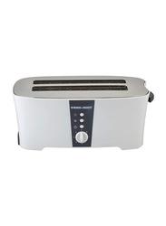 Black+Decker 4-Slice Cool Touch Toaster, 1350W, ET-124, White