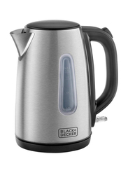Black+Decker 1.7L Electric Concealed Coil Stainless Steel Kettle, 2200W, JC450, Silver/Black