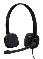 Logitech H151 3.5 mm Jack On-Ear Noise Cancelling Stereo Headset, Black