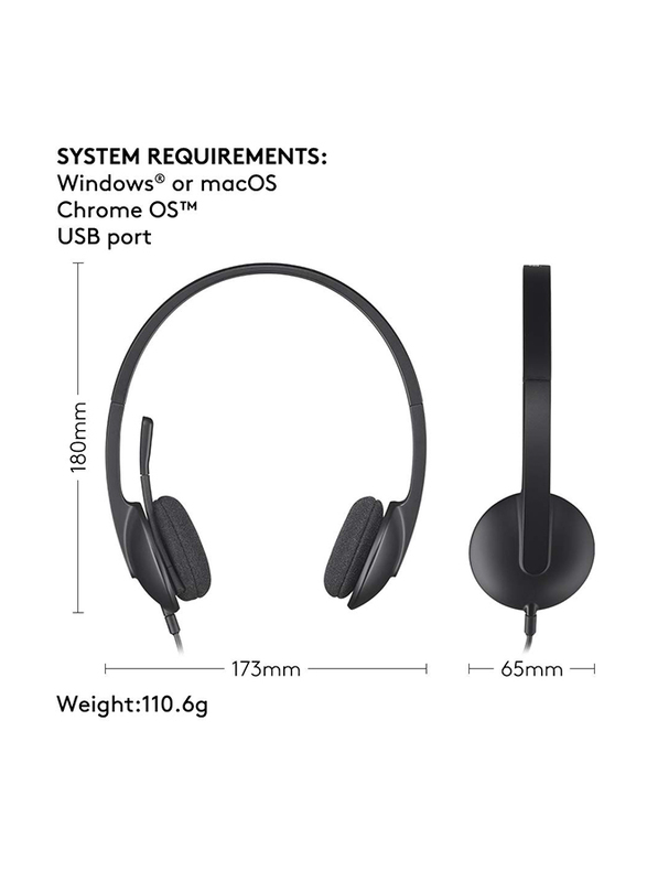 Logitech H340 USB Cable On-Ear Noise Cancelling Stereo Headset, Black