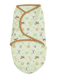 Summer Infant Swaddleme Cotton Original Swaddle, Graphic Jungle, Small/Medium, 5-10 Months, Beige/Green/Grey