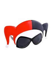 Sun Staches Officially Licensed Harley Quinn Large Sunglasses for Kids/Adults, Red/Black