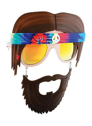 Sun Staches Reflective Lens Hippie Retro Bandana Beard Sunglasses for Kids, Brown/Pink
