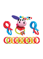 YooKidoo Clips Rattle N Links Car Seat Accessories, Cow, Multicolor