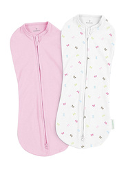 Summer Infant 2-Piece Spandex/Cotton Swaddle Pod Set, Baby Bows, 5-10 Months, Pink/White