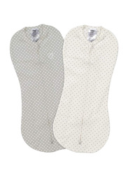 Summer Infant 2-Piece Spandex/Cotton Swaddle Pod Set, Dot, 5-10 Months, Grey/white