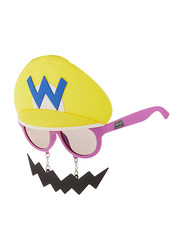 Sun Staches Officially Licensed Nintendo Super Mario Yellow Wario Sunglasses for Kids, Green/Blue/Black