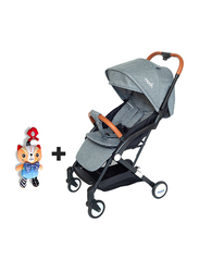 Moon Ritzi Cabin Stroller + Pull String Cat Musical Toy, Grey