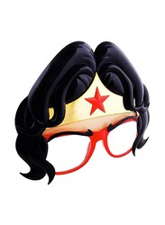 Sun Staches Officially Licensed Wonder Woman Hair Sunglasses for Kids/Adults, Black/Red