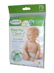 Summer Infant Keep Me Clean Disposable Diaper Sacks, 75 Pieces, White