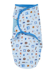 Summer Infant Swaddleme Cotton Original Swaddle, Little Champ, Small/Medium, 5-10 Months, Blue/White