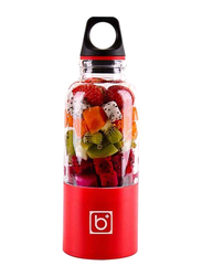 500ml Juice Cup Portable USB Rechargeable Juicer Blender, 489174965M, Red/Clear
