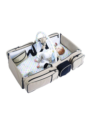 9-In-1 Multifunctional Travel Bed Cot Bassinet, with Diaper Bag, Beige