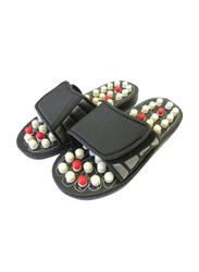 Foot Reflex Reflexology Slippers, Black/White