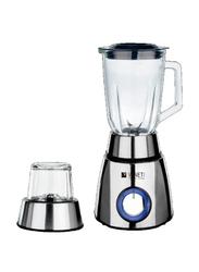 Veneti 2 in 1 Blender with Glass Jar, 400W, VI-08BL, Silver