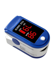 Fingertip Pulse Blood Oxygen Saturation Monitor with Silicon Cover, White/Blue