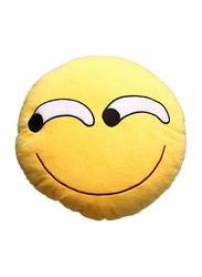 Emoji Smiley Emoticon Crooked Smile Round Cotton Cushion Pillow, Yellow