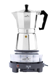 ARTC 300ml Espresso Coffee Maker with Mini Electric Hot Plate Set, 500W, FF-600C + YQ105, Silver