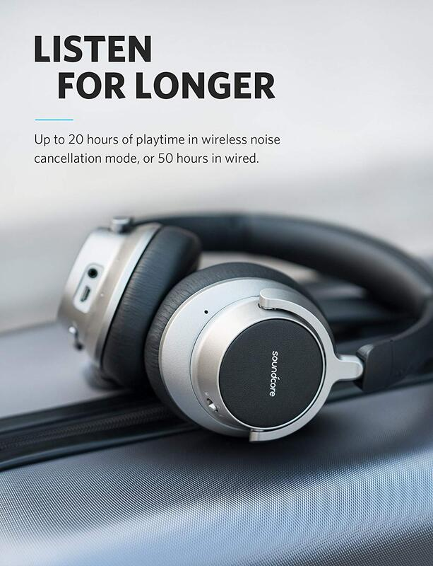 Anker SoundCore Space NC Wireless Bluetooth Over-Ear Noise Cancelling Headset with External Mic, Black/Grey