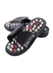 Reflexology Sandals Foot Massager Slipper, Black/White