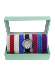 LJ Classique Analog Watch Unisex with Rubber Band, With Interchangeable Strap, LJ_XOXO8, Multicolor-White