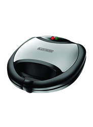 Black+Decker 2 Slot Sandwich Maker with Fixed Grill Plate, 750W, TS2020-B5, Black