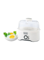 Black+Decker 7 Eggs Plastic Egg Cooker, 280W, EG200-B5, White