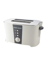Black+Decker 4 Slice Long Slot Cool Touch Toaster, ET124-B5, White