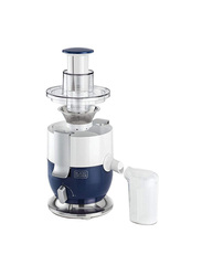 Black+Decker 0.4L Electric Plastic/Stainless Steel Juice Extractor, 1000W, with Locked Motor Power, JE350-B5, White/Blue