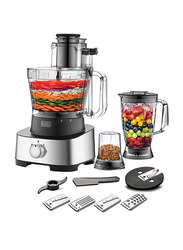 Black+Decker 4 in 1 Plastic Food Processor, 880W, FX1050-B5, Silver/Black