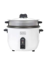 Black+Decker 2.8L Non-Stick Rice Cooker, 1100W, RC2850-B5, White/Silver