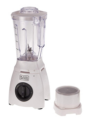 Black+Decker Blender, 400W, with 2 Mills and Extra Jar, BL405-B5, White