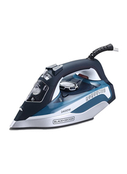 Black+Decker Steam Iron with Ceramic Soleplate, 2400W, X2150-B5, Blue/Black/White