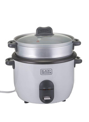Black+Decker 1.8L Non-Stick Rice Cooker, 700W, RC1860-B5, White/Silver
