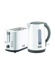 Black+Decker 2 Slice Toaster + 1.7L Electric Kettle Breakfast Set, 750W+2200W, MBF70-B5, White