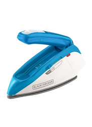 Black+Decker Dual Voltage Travel Steam Iron, 1085W, TI250-B5, Blue/White