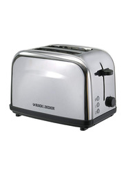 Black+Decker 2 Slice Stainless Steel Toaster, 1050W, ET222-B5, Silver