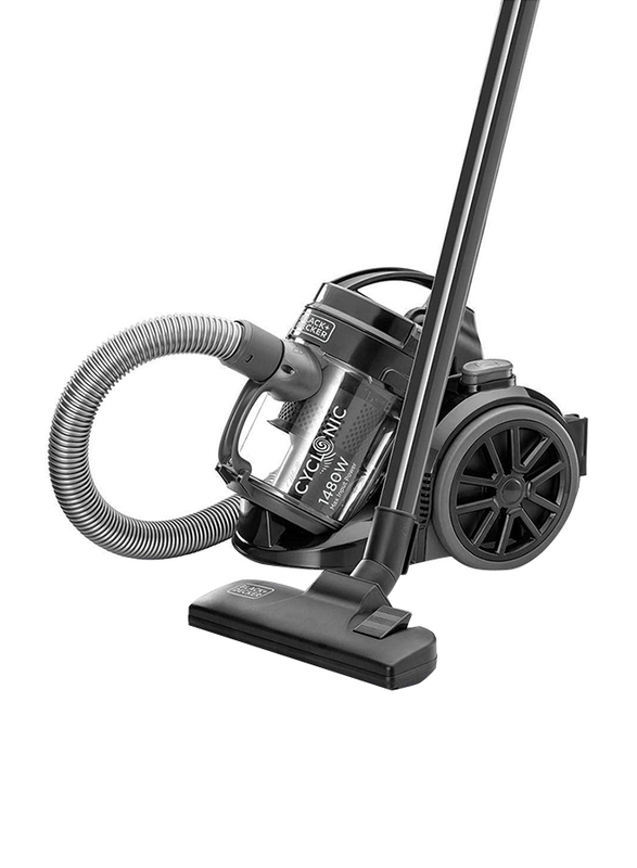 Black and Decker 1480W Multicyclonic Canister Vacuum Cleaner, 1.8L VM1480-B5, Black