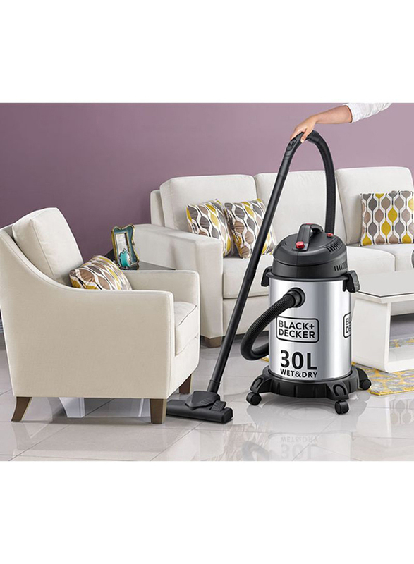Black and Decker 1610W Wet & Dry Vacuum Cleaner, 30L WV1450-B5, Silver