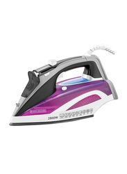 Black+Decker Digital Steam Iron with Anodized Soleplate, 2800W, X2250-B5, Purple/White/Grey