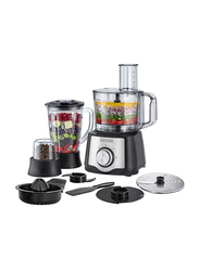Black+Decker 1.5L 29 Functional Electric Plastic/Stainless Steel Food Processor, 650W, with Blender, Mill and Juicer, FX650-B5, Black/Clear
