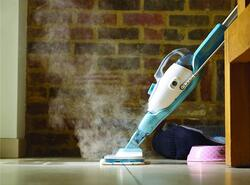 Black and Decker 1300W Gen 3 in 1 Steam Mop, Variable Steam with Microfibre Pad, FSMH1321-B5, White/Blue