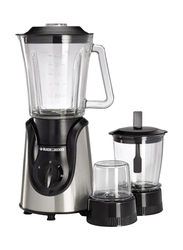 Black+Decker 1.5L Glass Blender, 600W, with Grinder & Mincer-Chopper, BX600G-B5, Black
