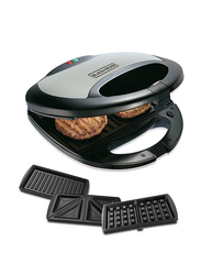 Black+Decker 3 in 1 Sandwich Grill & Waffle Maker, 750W, TS2090-B5, Black