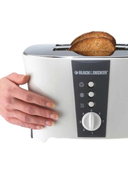 Black+Decker 4 Slice Long Slot Cool Touch Toaster, ET124-B5, White
